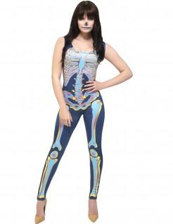 Sexy Skelett Halloween-Damenkostüm bunt