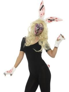 Zombie-Bunny Halloween Kostüm-Set für Damen weiss-schwarz
