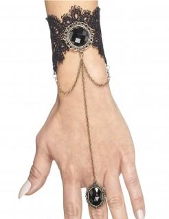 Gothic Armband mit Ring Halloween-Kostümaccessoire schwarz