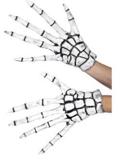 Skelett-Handschuhe aus Latex Knochen-Handschuhe weiss