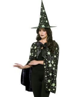 Nachtleuchtendes Hexen-Set Hut und Umhang Stern-Motiv 2-teilig schwarz-grün