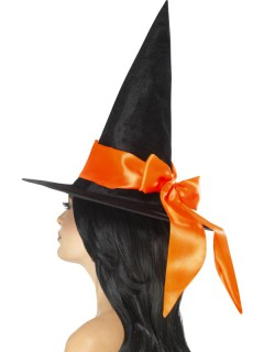 Hexen-Hut mit Schleife schwarz-orange