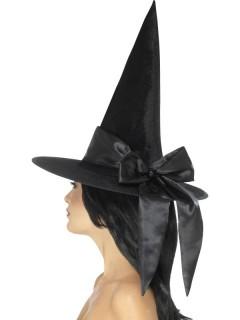 Hexenhut mit Schleife Halloween-Accessoire schwarz