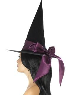 Hexenhut mit Schleife schwarz-violett