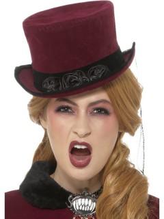 Vampirhut Halloween-Zylinder burgund-schwarz