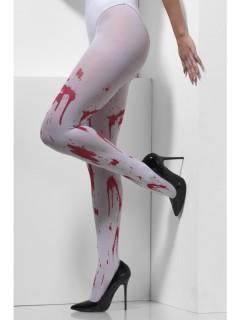 Blutige Damenstrumpfhose Halloween-Strumpfhose weiss-rot