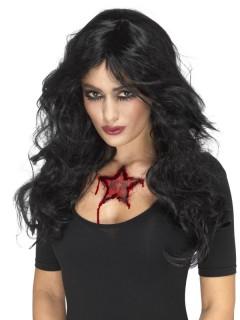 Blutiges Stern-Tattoo Horrorwunde für Halloween rot