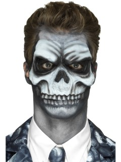 Latexapplikation Halloween-Skelettgesicht schwarz-weiss