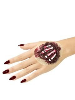 Halloweenwunde Knochen Latexapplikation für die Hand rot-weiss