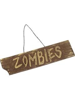 Zombies Halloween Deko-Schild braun 40x10cm