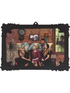 Schauriges Familienportrait Halloween-Wanddeko bunt 44x30cm