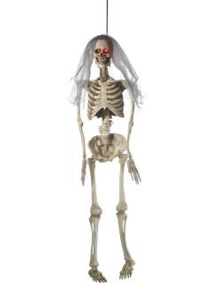 Skelettbraut mit Leuchtaugen und Schleier weiss-grau-rot 170cm