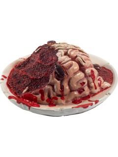 Blutiger Halloween-Teller mit verwesendem Gehirn weiss-rot 27x27x10cm
