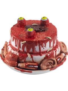 Blutige Halloween-Torte mit Körperteilen rot-bunt 25cm