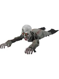Kriechender Zombie Halloween-Deko grau-grün 110cm