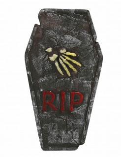 Grabstein RIP mit Skeletthand Halloweendeko grau-beige-rot 63x35cm