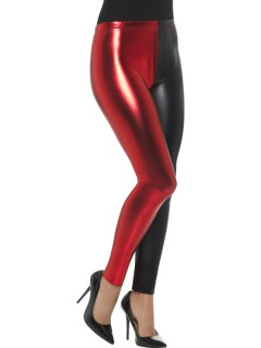 Zweifarbige Leggings rot-schwarz