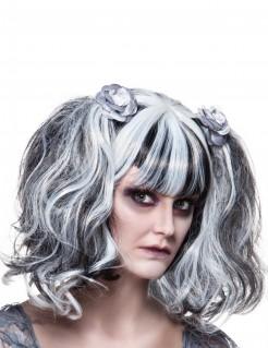 Halloween-Damenperücke mit Pony und Haarspangen schwarz-weiss