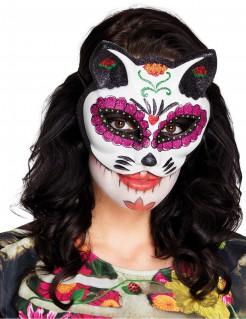 Dia de los Muertos Augenmaske Katze bunt