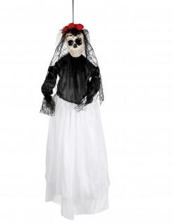 Skelettbraut Tag-der-Toten-Dekopuppe weiss-schwarz-rot 90cm