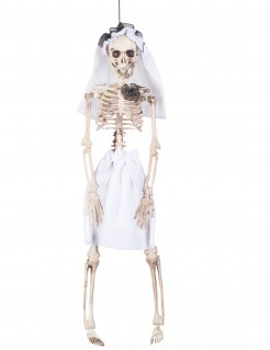 Skelettbraut mit Schleier Halloween-Hängedeko weiss 40cm