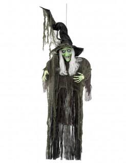 Riesige Hexe-Dekofigur Halloween-Partydeko schwarz-hautfarbe-weiss 190 cm