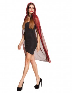 Halloween-Kapuzenumhang für Damen rot 140cm