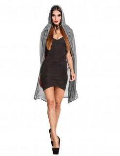 Durchsichtiger Halloween-Damenumhang grau 140cm