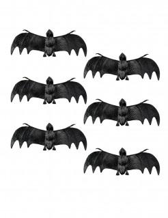 Deko-Fledermäuse Halloween-Gruseltiere 6 Stück schwarz 12cm