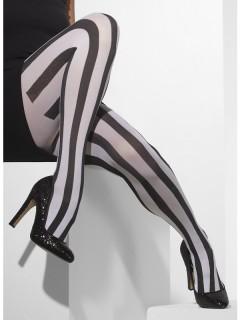 Gestreifte Harlekin-Strumpfhose Halloween-Accessoire schwarz-weiss