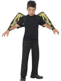 Nachtleuchtende Fledermausflügel Halloween-Accessoire für Kinder schwarz-grün