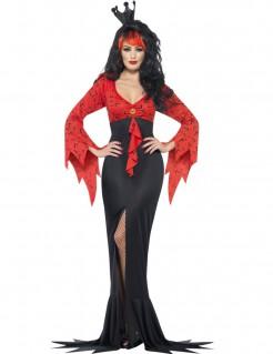 Dunkle Königin Halloween-Damenkostüm rot-schwarz