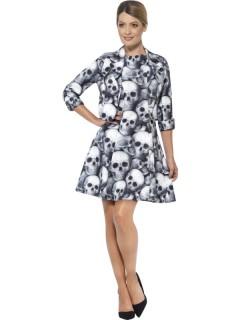 Totenkopf-Kleid Halloween Damenkostüm mit Jacke schwarz-grau