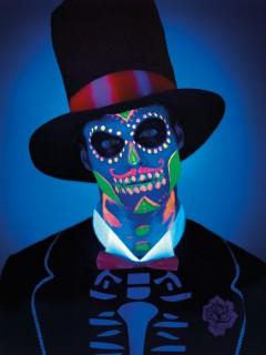 Nachtleuchtende Halloween-Schminke Sugar Skull Dia de los Muertos bunt