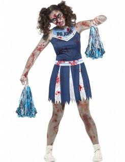 Schauriges Zombie-Cheerleaderkostüm für Mädchen blau