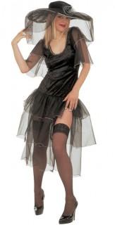Hexenkleid Halloween Damenkostüm schwarz-silber