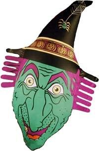 Aufblasbare Hexe Halloween Party-Deko grün-lila 38x78cm
