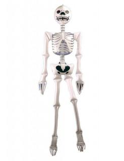 Aufblasbares Skelett Halloween-Deko weiss-schwarz 183x46cm