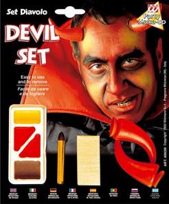 Schminkset Teufel rot-braun-gelb