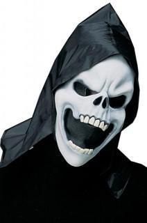 Sensenmann-Maske mit Kapuze Halloween schwarz-weiss