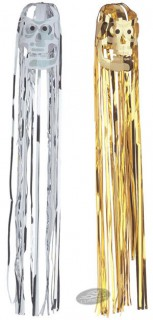 Lametta-Schädel Halloween-Hängedeko Set 2-teilig gold-silber 80x12cm