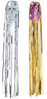Lametta-Schädel Halloween-Hängedeko Set 2-teilig silber-lila-gold 80x12cm