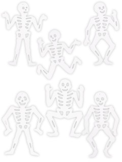 Skelette Halloween Sticker-Set 6-teilig weiss 36x28cm
