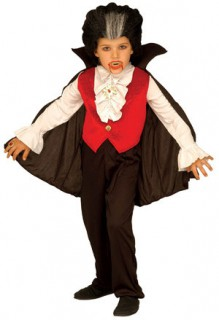 Dracula Halloween-Kinderkostüm schwarz-rot