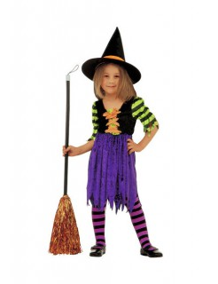 Hexe Halloween-Kinderkostüm lila-schwarz-grün