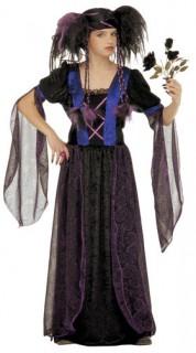 Gothic Vampirin Halloween-Kinderkostüm schwarz-blau
