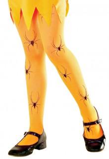 Halloween-Strumpfhose mit Spinnen für Kinder neonorange