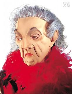 Alte Frau Halb-Maske beige-weiss