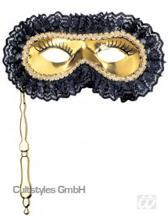 Venezianische Augenmaske mit Griff schwarz-gold
