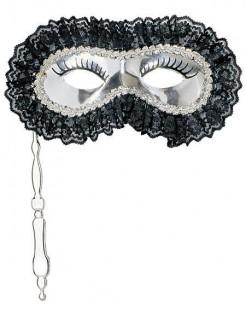 Silberne Augenmaske mit Griff silber